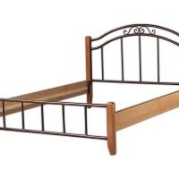 Μεταλλικό κρεβάτι διπλό με ξύλινα πόδια